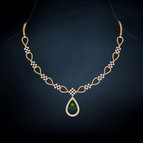 3dbc2c5afdcb77 Emerald dome diamond necklace | Buy 18Kt Yellow gold Diamond NECKLACE  Online for Necklace in India | Kirtilals
