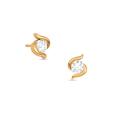 d7fc72525 Single diamond yellow gold Stud | Buy 18Kt Yellow gold Diamond EARRINGS  Online for Studs in India | Kirtilals